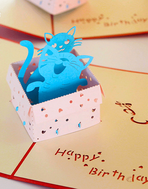3D Popup Cat In A Box Birthday Card