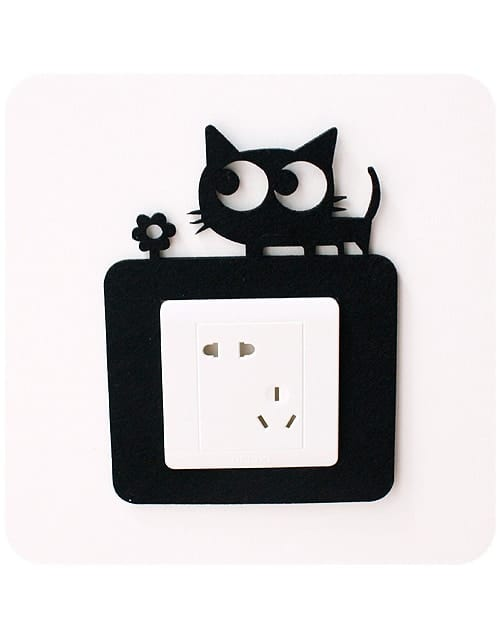 Cat Wall Switch Decoration Suddenly